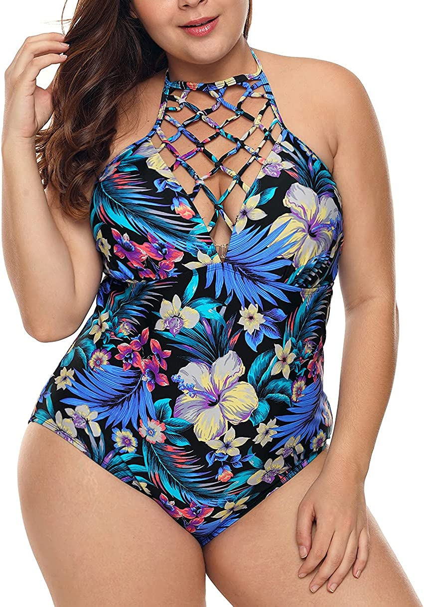 Yuanlar Women Plus Size One Piece Bathing Suits Tummy Control Swimsuit High Neck Hollow Out Swimwear