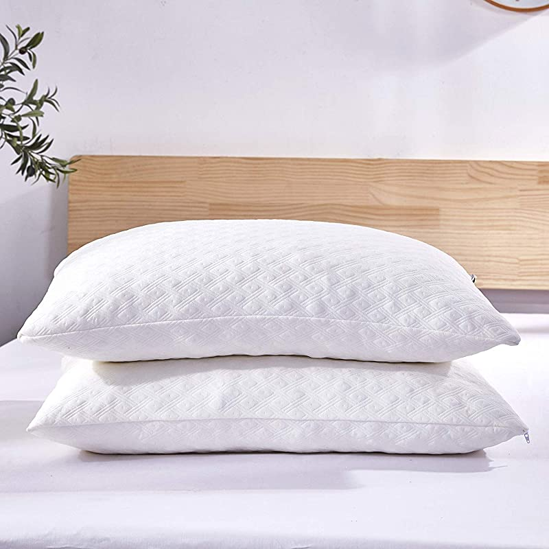 Dreaming Wapiti Pillows For Sleeping 2 Pack Shredded Memory Foam With Machine Washable Bamboo Cover Adjustable Loft Stomach Side Back Sleeper Queen White