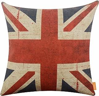 LINKWELL 18x18 inches Retro Union Jack Burlap Throw Cushion Cover Pillowcase CC1214