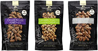 Squirrel Brand Variety Nut Bundle: Caramel Toasted Colada Cashews, Salted Caramel Pecans, Creme Brûlée Almonds - 3.5 oz Each