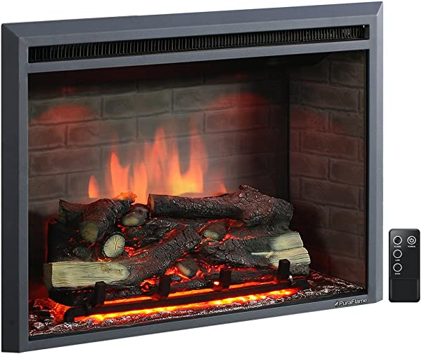 PuraFlame 33 Inches Western Electric Fireplace Insert With Remote Control 750 1500W Black