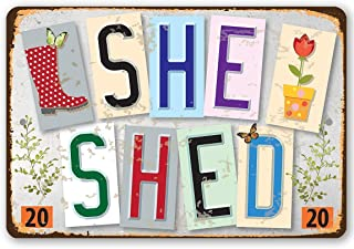 """She Shed - Est. 2020 - Durable Metal Sign - 8"""" x 12"""" Use Indoor/Outdoor - Great Gift and Decor for Woman Cave Under $20"""