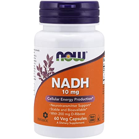 NOW Supplements, NADH (Reduced Nicotinamide Adenine Dinucleotide) 10 mg with 200 mg D-Ribose, 60 Veg Capsules