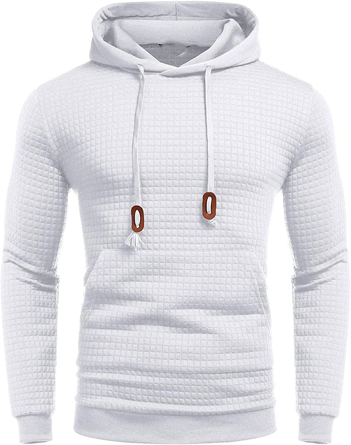 Qsctys Men's Solid Pullover Athletic Hoodies Sports Soft Cotton Blend Slim Hooded Sweatshirts with Kanga Pocket Black White