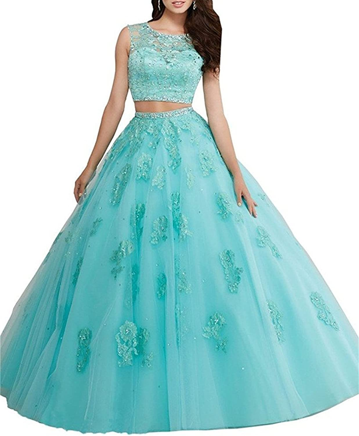 XYHDTQ Women's Beading Long Lace Ball Gown Two Piece Quinceanera Dresses Prom Gowns