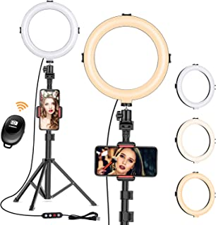 Selfie Light with Tripod Stand - Dimmable Selfie Ring Light LED Camera Ringlight with Tripod and Phone Holder for Live Stream/Makeup/YouTube Video, Compatible for iPhone Android, Remote(Upgraded)