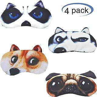 Hycles Funny Sleep Mask for Kids Women Men Soft Eye Cover Blindfold Mask Cute Animal Cartoon Dog Sleep Eye Mask for Sleeping 4 Pack