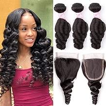 YUZHU Loose Wave Human Hair Bundles with Closure (10