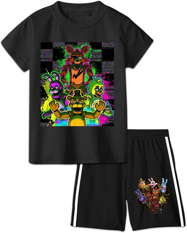 Teen FNAF Short Sleeve T-Shirt & Shorts Set 2 Piece Outfit Clothes Set for Boys Girls