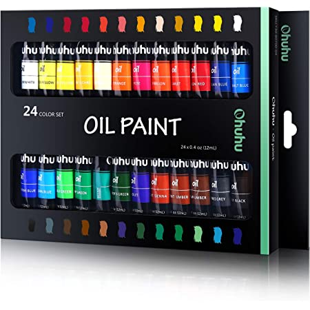 Ohuhu Oil Paint Set, 24 Oil-Based Colors, Artists Paints Oil Painting Set, 12ml x 24 Tubes Great Back To School Valentine's Day Gifts Ideal