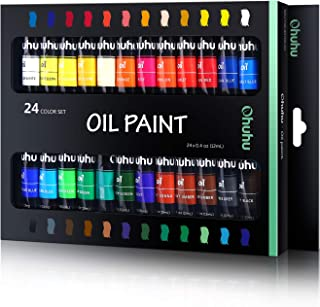 Ohuhu Oil Paint Set, 24 Oil-Based Colors, Artists Paints Oil Painting Set, 12ml x 24 Tubes Great Back To School Valentine'...
