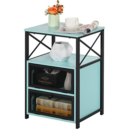 VECELO Night Stand, End Side Table with Storage Space and Door,Modern Nightstands for Living Room,Bedroom, Blue