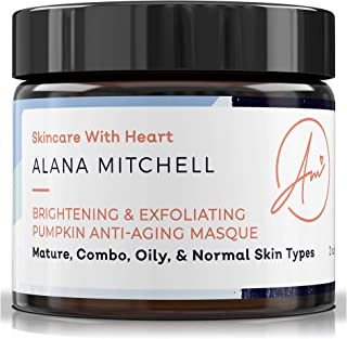 Brightening Pumpkin Enzyme Face Mask .5oz W/Glycolic Acid, Lactic and Citric Acid - Instant Gel Exfoliating Mask For Anti Aging, Lighter, Younger Refreshed Neck and Facial Area Skin Care