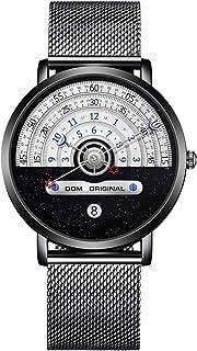 ساعات للرجال الأنيقة، ساعة كوارتز DOM مقاومة للماء للرجال بسوار من الفولاذ المقاوم للصدأ أسود 40 مم (ذهبي)