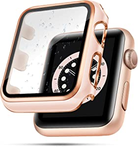top4cus 38mm Case Compatible with Apple Watch, 38mm Bumper Built-in Tempered Glass Screen Protector, Protective PC Cover for iWatch Series SE 6 5 4 3 2 1 Women Men (38mm, Pink + Rose Gold Edge)