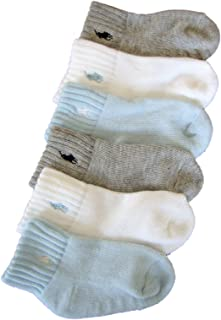 Ralph Lauren Boy's 6-Pairs Assorted Quarter Crew Socks Sz: 18-24 Fits 5-6