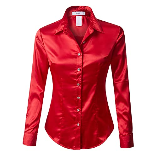 fed7d48c RK RUBY KARAT Womens Satin Silk Work Button Down Blouse Shirt with Cuffs