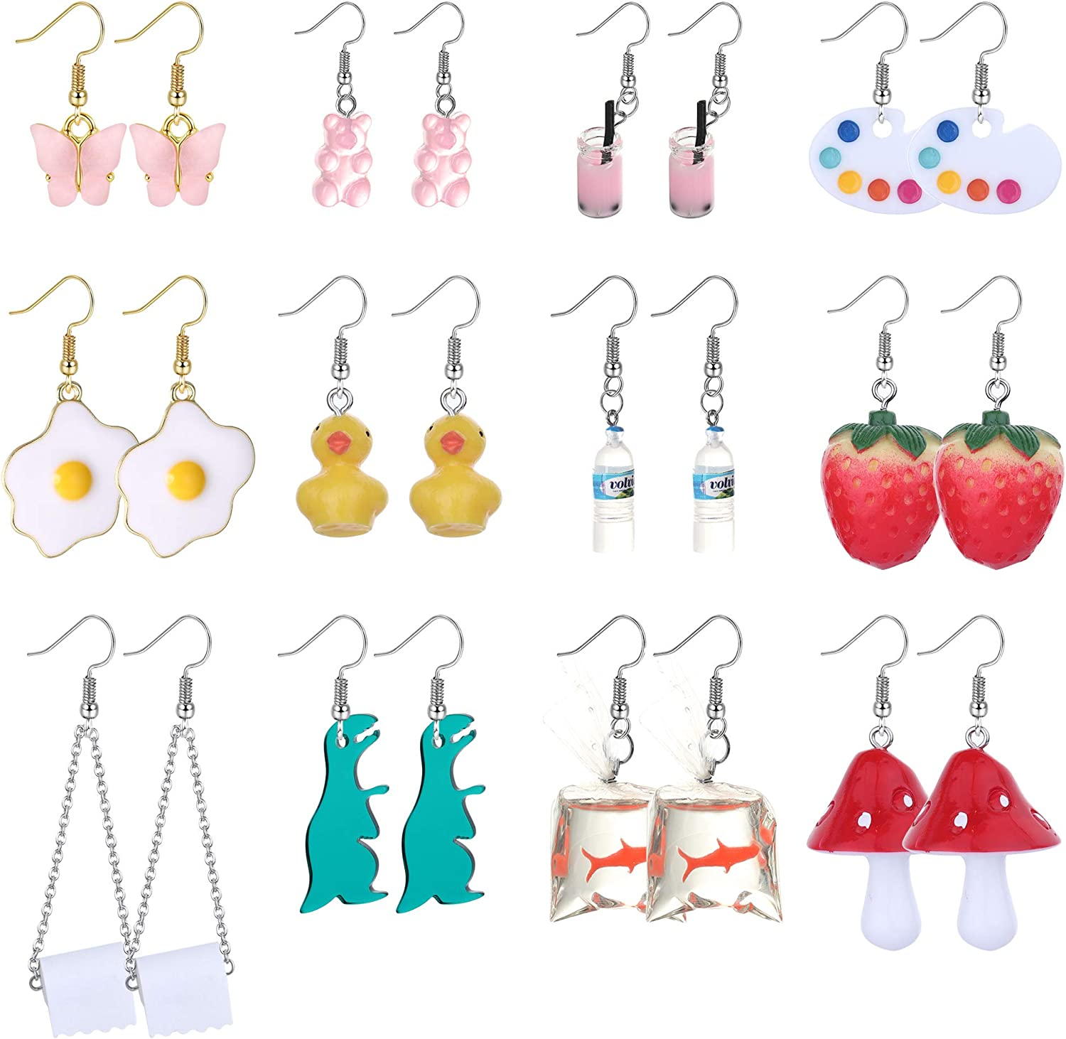 Jstyle 12Pairs Cute Regular discount Funny Cool Earrings Wate Paper Toilet Weird Factory outlet