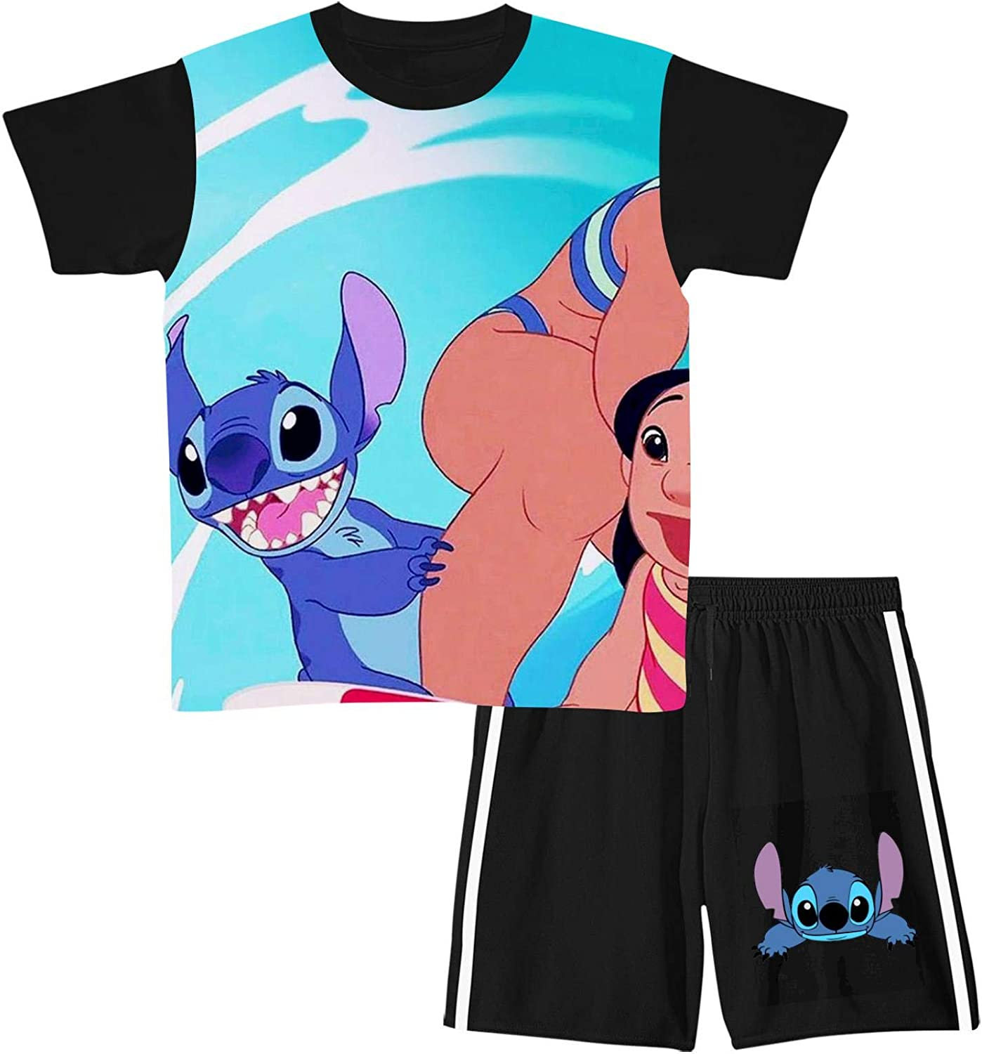 Youth Unisex Lilo & Sti_tch Short Sleeve Crew Neck T-Shirt Top Clothes and Shorts Outfits Set 2 Piece Suit