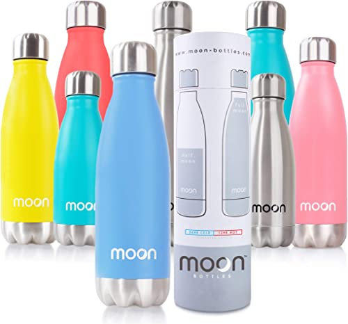 Moon Bottles - Insulated Stainless Steel Water Bottle & Vacuum Flask, 24hr Cold,12hr Hot, Double Walled Metal, BPA Fr...