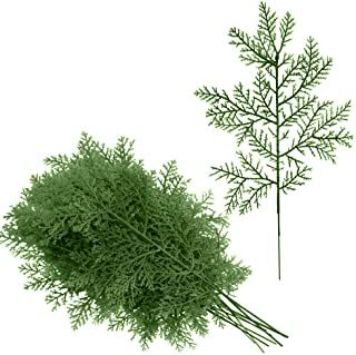 BESTTOYHOME 12 Pcs Artificial Cedar Picks Faux Cedar Greenery Spray Branches Christmas Cedar Twig Stems Cedar Sprigs 13