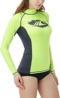TSLA Women's UPF 50+ Rash Guard Long Sleeve SwimShirt, Water Beach Surf Swim Shirts, UV/Sun Protection Swimwear