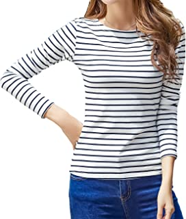 XinQiDian WTSHOPME Women Striped Long Sleeve T-Shirt Top Tees Blouse