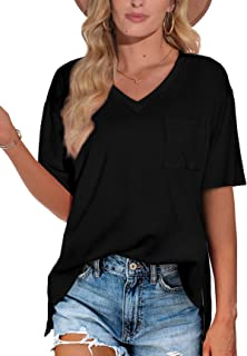 Sponsored Ad - XIEERDUO Women's Summer T Shirts Short Sleeve Cute V Neck Pocket Tee Tops
