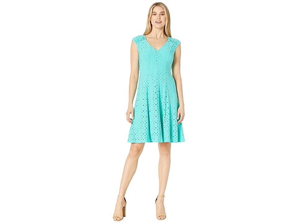 London Times Shirred Shoulder Fit and Flare (Turquoise) Women