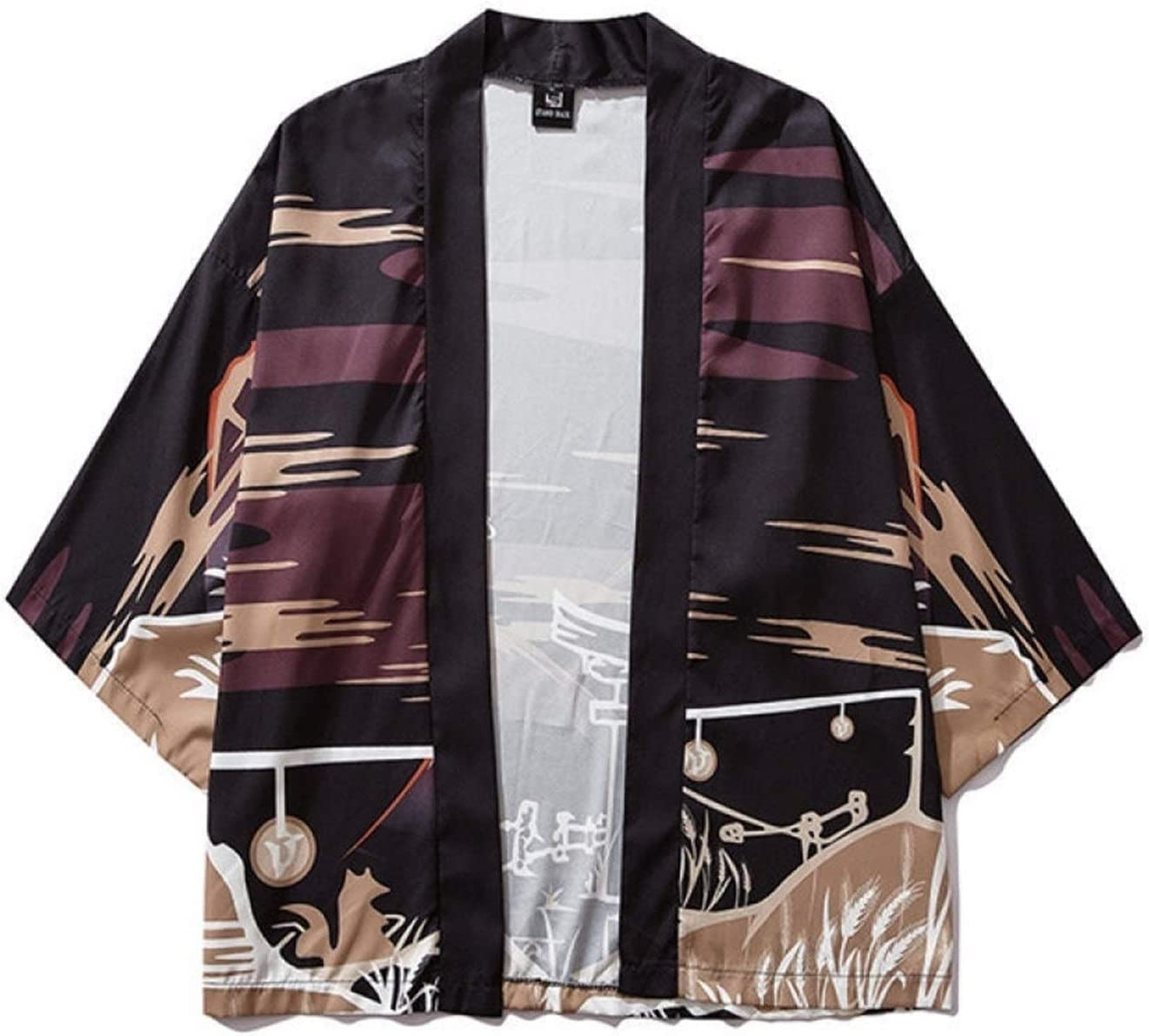 SHUYANshiyu One-Quarter Sleeves Kimono View Print Young Men and Women Open Lining Sun Robe Sun Cape Coat (Color : Color, Size : XXL)