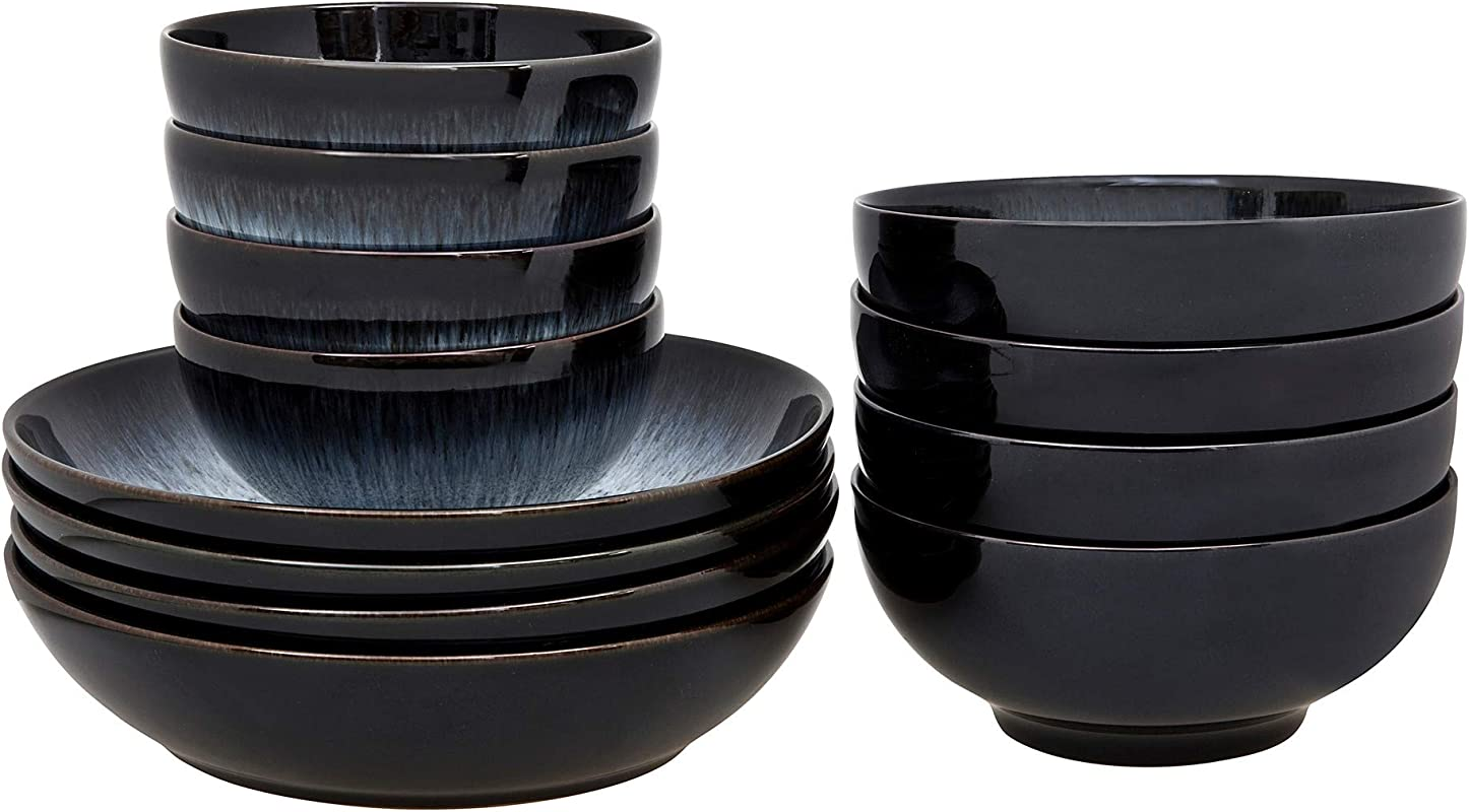 Denby Halo 12 Piece Bowl Set Stone Grey 22 5 X 24 X 22 Cm
