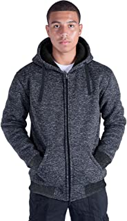 Plus Size S-5XL Marled Heavyweight Fleece Hoodie for Men Sherpa Lined Full Zip Up Long Sleeve Winter Jacket Coat