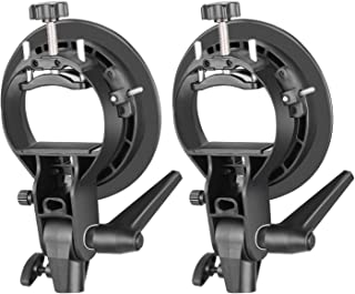 Neewer 2 Pieces S-Type Bracket Holder with Bowens Mount for Speedlite Flash Snoot Softbox Beauty Dish Reflector Umbrella