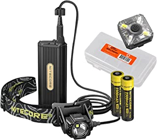Nitecore Premium Bundle HC70 1000 Lumen Rechargeable Headlamp & NU05 Red/White Emergency Signal w/ 2X Rechargeable Batteries and LumenTac Battery Organizer - Ideal for Caving, Exploring, Outdoors