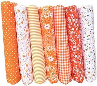Hanxin 7 Piezas De Tela De AlgodóN Tejido Artesanal Paquete De Telas Tela De Retazos DIY Costura Acolchado Estampado De Flores