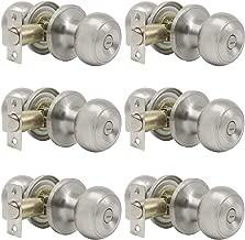 Probrico Privacy Interior Door Knobs Bed and Bath Handles Keyless Sain Nickel Locksets, 6 Pack