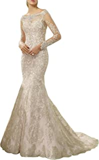 Newdeve Mermaid Wedding Dresses For Brides Long Sleeve...