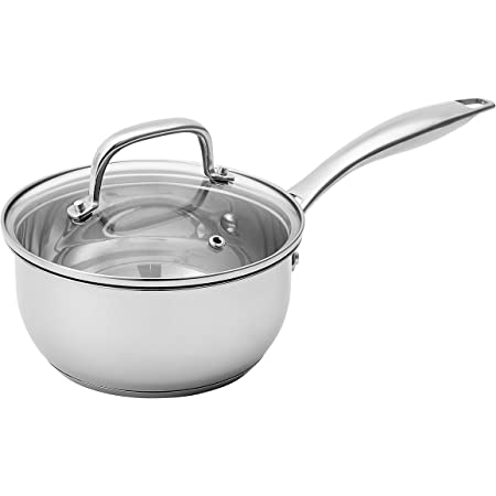 Amazon Basics Stainless Steel Sauce Pan with Lid, 2.5-Quart