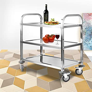 Nisorpa 3 Tier Stainless Steel Utility Rolling Cart Kitchen Island Trolley Serving Catering Storage Cart with Locking Wheels