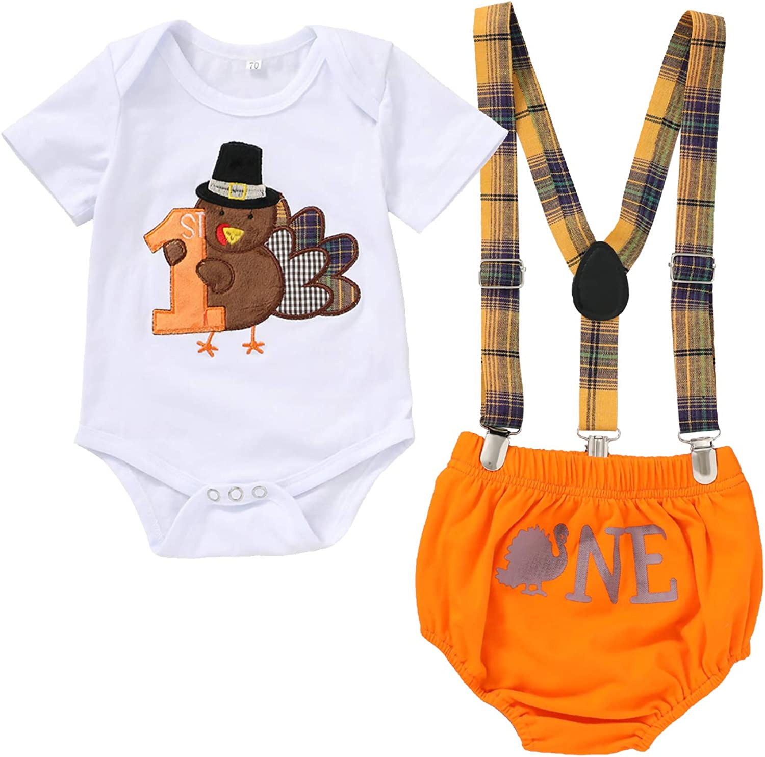 Baby Boy MY 1st Thanksgiving Outfit Short Sleeve Romper+Turkey Shorts+Y Back Suspenders Clothes Set