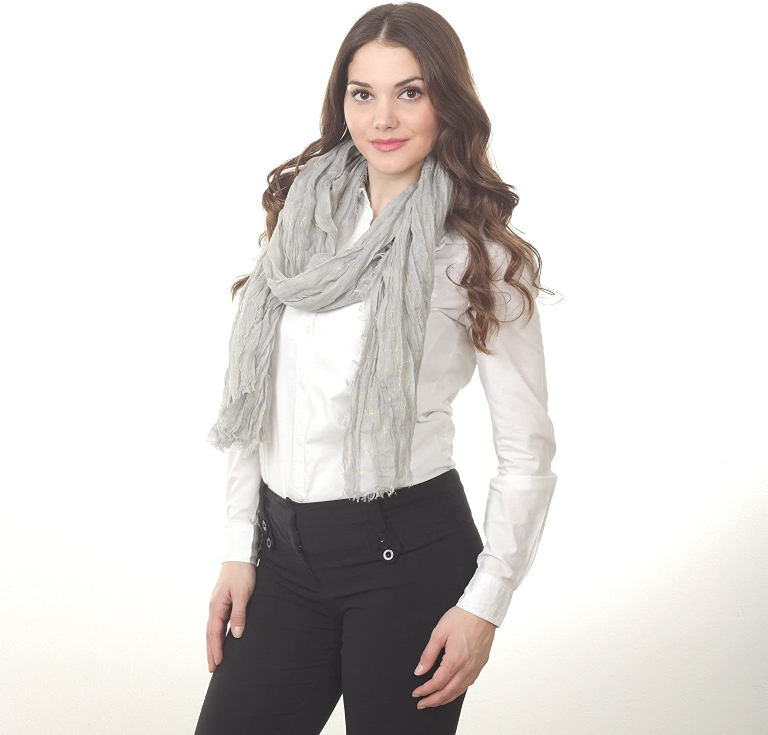 Saro Lifestyle Grey Scarf with gold Threads  39 x78 , 100% polyester