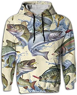 3D Print Men's Hooded Sweatshirts Fish Painting Drawstring Pullover Hoodies Pockets