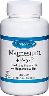 EuroMedica Magnesium + P-5-P - 60 Capsules - Bio-Active Vitamin B6 with Magnesium & Zinc - Heart Health, Energy, Metabolis...