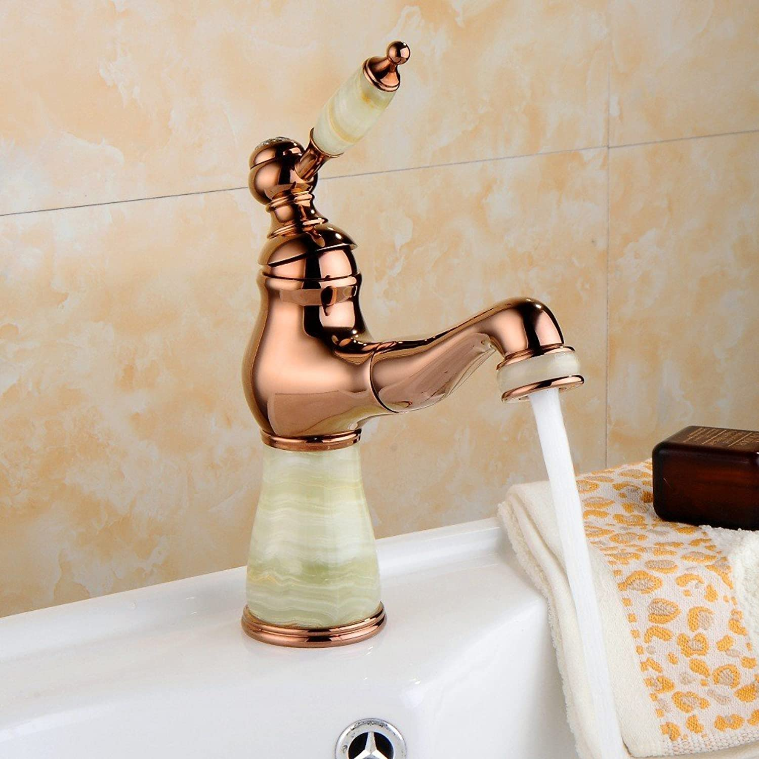 Bijjaladeva Antique Bathroom Sink Vessel Faucet Basin Mixer Tap The copper plated pull-down jade mixed faucet chrome pull-down faucet pink gold pull-down Jade
