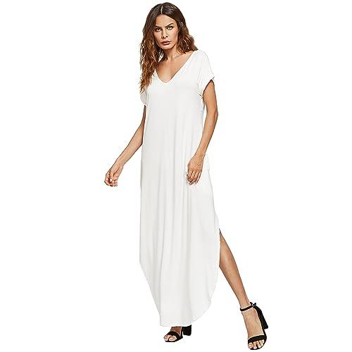 1cd0fbb4cd Verdusa Women's V Neck Side Pockets Split Hem Beach Long Maxi Dress