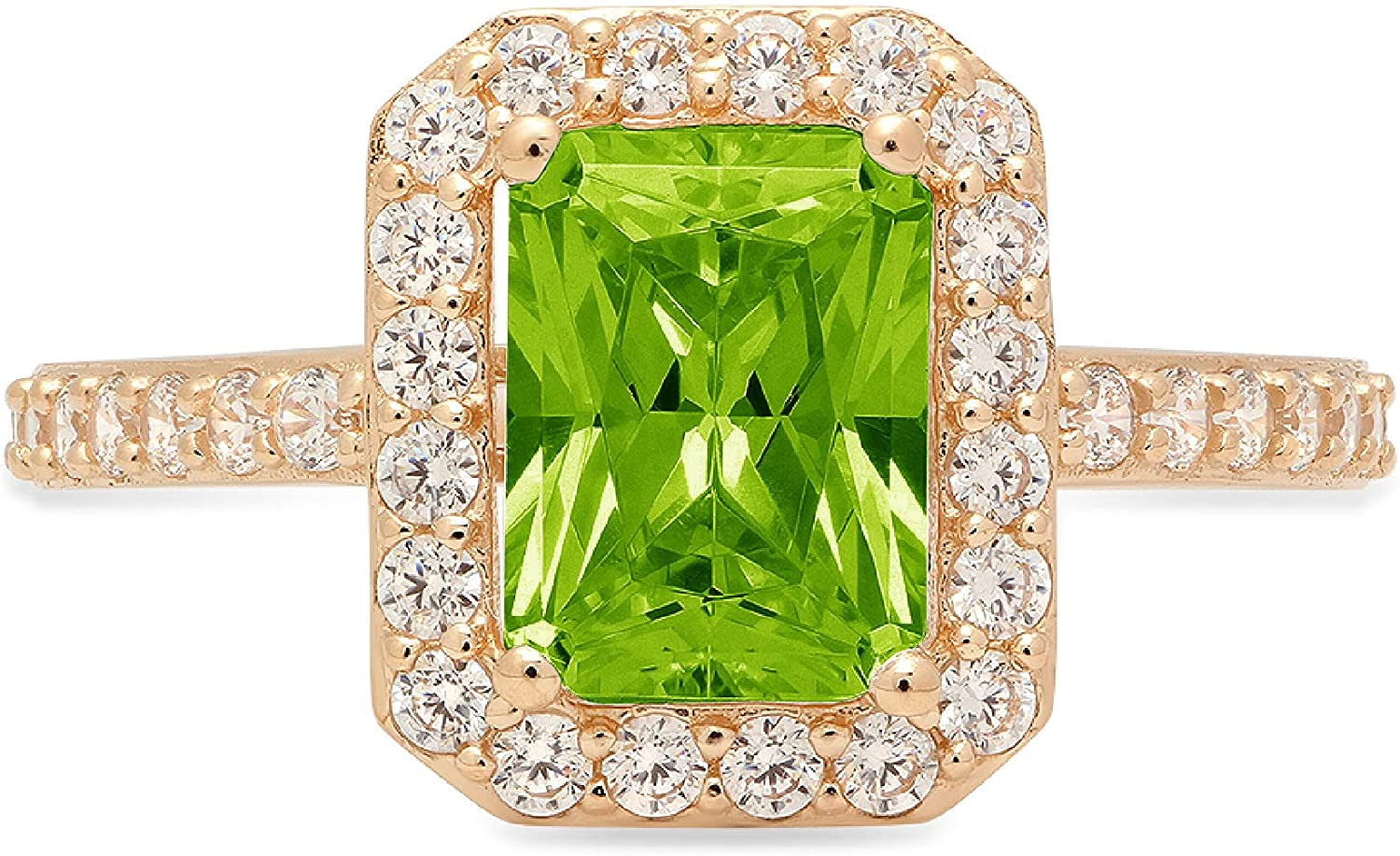 2.07ct Brilliant Emerald Cut Solitaire Accent Halo Genuine Flawless Natural Green Peridot Gemstone Engagement Promise Anniversary Bridal Wedding Ring Solid 18K Yellow Gold