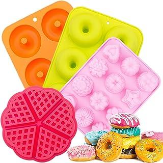 Silicone Donut Baking Pan,SPLAKS 4pcs Non-Stick Silicone BPA Free Molds Food-Safe Silicone Baking Tray Maker Pan Heat Resi...