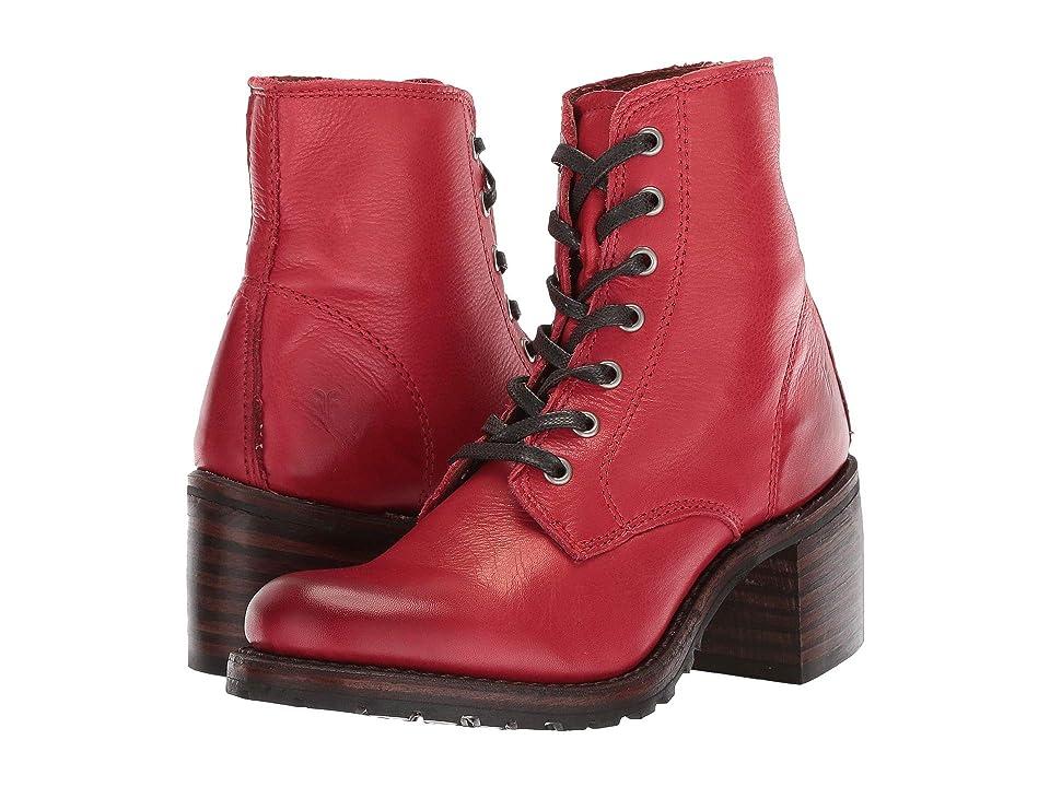 Frye Sabrina 6G Lace Up (Burnt Red Polished Soft Full Grain) Women