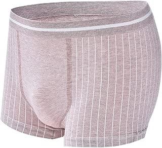 WUFAN Men Basic Cotton Mid Waist Stretch Breathable Stripe Soft Boxer Brief