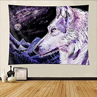 Wolf Tapestry Watercolor Purple Psychedelic Mountain Starry Sky Backdrop Wall Hanging Wolf Howling Tapestry Cool Home Deco...